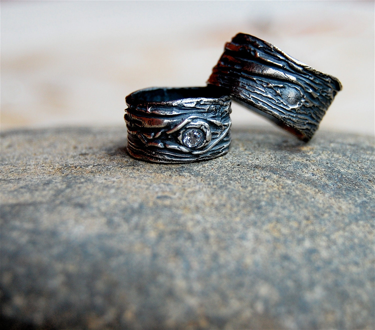 Wedding Rings Artisan set Tree Bark His and by codysanantonio