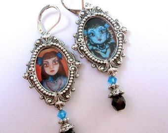 The Cat Woman - A Certain Famous Changing Portrait - Earrings Homage