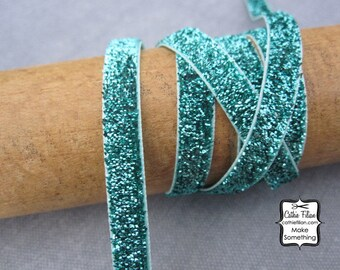 Aqua Metallic Velvet Ribbon - 5 Yards - sparkle glitter trim - blue green ocean
