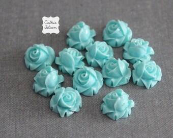 12 Turquoise Resin Flowers Rose, emebllishment, Scrapbooking, Jewelry Design, Bobby Pin blue