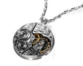 Steampunk Jewelry Necklace Vintage 1914 ELGIN Silver Guilloche Etched Pocket Watch STUNNING Mens Womens Necklace - Steampunk by edmdesigns