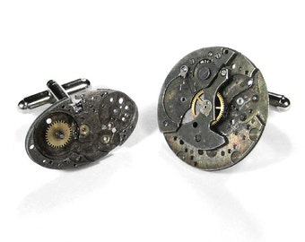 Mens Cufflinks Nihilist Post Apocalyptic Steampunk Jewelry Vintage Watches INDUSTRIAL Cuff Link Holiday Gift For Men - Jewelry by edmdesigns