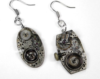 Steampunk Earrings Nihilist Post Apocalyptic Watch GRUNGED DiSTRESSED Gears, Cogs Rocker Biker Punk Earrings, UNIQUE - Jewelry by edmdesigns