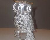 Silver tone  VINTAGE Owl Earring / Jewellery holder - Retro Bird - Torino ITALY 70's