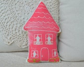 CLEARANCE SALE Pink house pillow .... medium number 16
