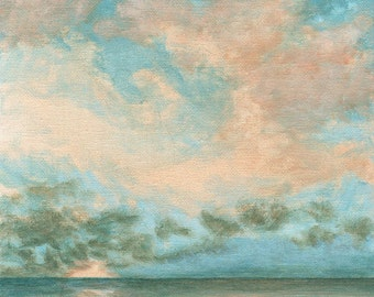 Ocean Sunrise - Original Landscape Painting on Canvas 8x8 Sky Clouds Sunset Cloud Sun Water Sea
