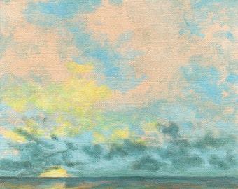 Ocean Art PRINT 8x8 - Sky Clouds Sunrise Sunset Cloud Sun Sea