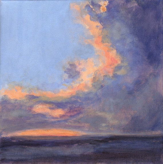 Just after Sunset - Orignal Landscape Painting with Sky and Dramatic Clouds 8x8