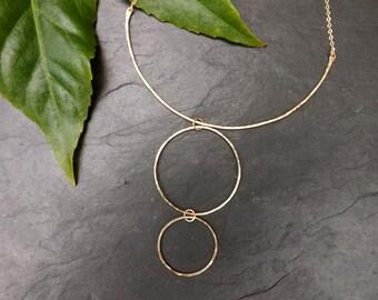 14kt gf double circle-bar necklace