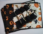 Halloween Table Decor Set - 4 cotton placemats, napkins, napkin rings