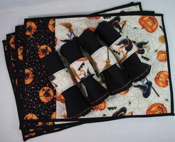Halloween table decor set 4 cotton placemats napkins for Halloween cloth napkins
