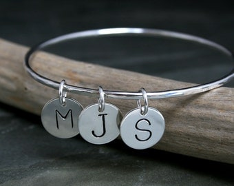 Personalized Bangle, Charm Bracelet, Three Letter Charms, Sterling Silver, Hand Stamped Charm, Hammered, Mothers Day