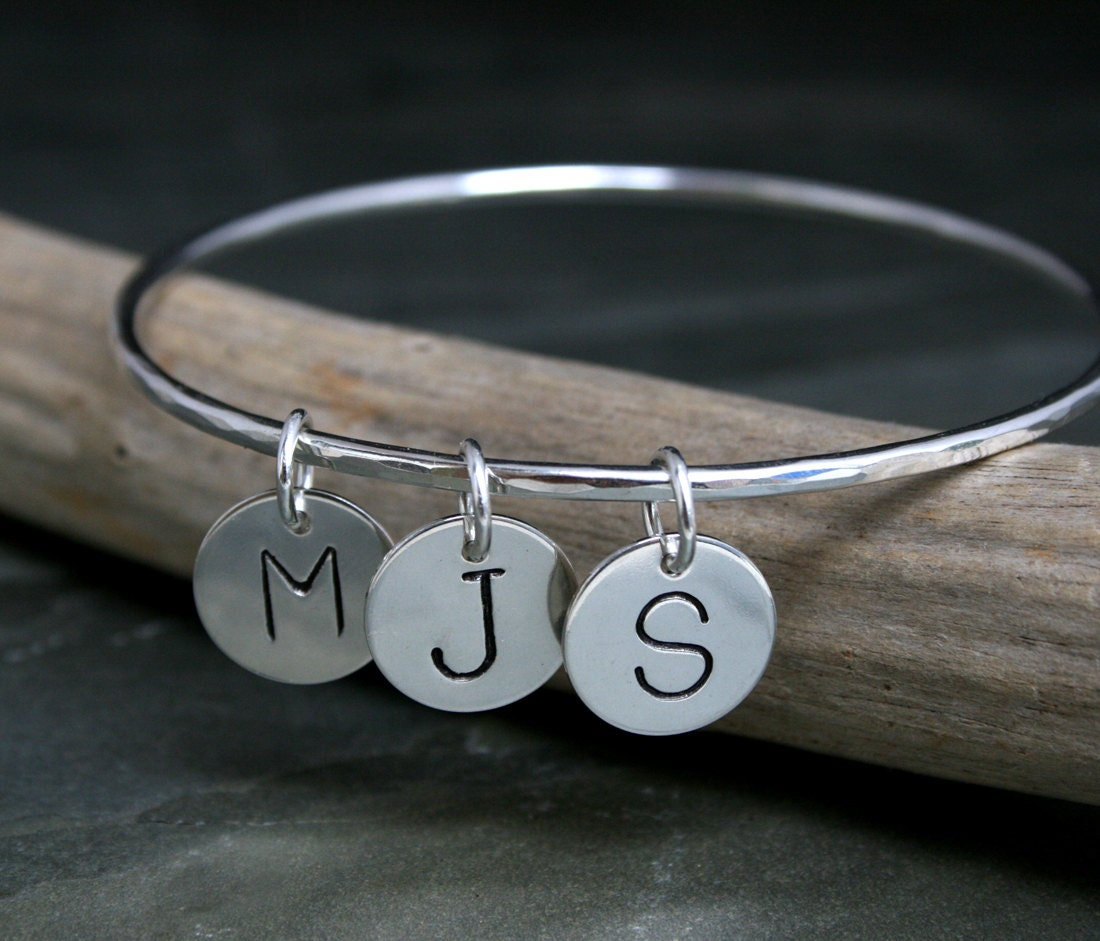Personalized Bracelet Charms: Personalized Bangle Charm Bracelet Three Letter Charms
