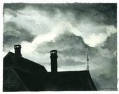 An Evening Storm - Watercolor print-