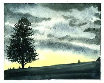 Painting n0. 35  Sunset on the Ridge-- Original Watercolor Painting
