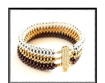 Beading Tutorial - Trinity Metal Bead Bracelet Pattern - Right Angle Weave
