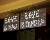 Large Hanging Reception Signs. Treat Table sign. Love Sign, Wedding Sign, Treat Table Signs, Love is Kind, Love is Sweet,  Wood Bar Signs