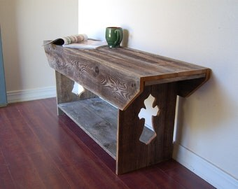 Wood Bench Cross Rustic Bench / Entertainment TV Stand. Recycled Wood Furniture Side table Console Table Eco Friendly Table