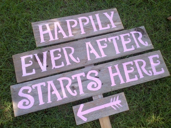 Happily Ever After Starts Here. PINK Rustic Recycled wood Signs. Hand Painted By Trueconneciton Large Reception Sign