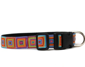 1 Inch Wide Dog Collar with Adjustable Buckle or Martingale in Squared