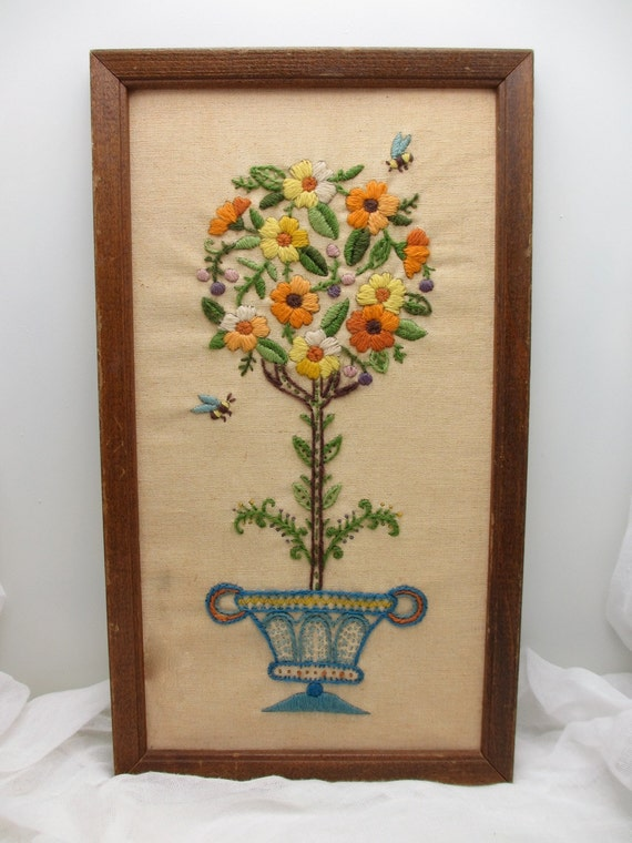 Topiary and Bees, Framed vintage crewel work wall hanging