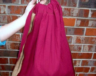 Baby Midwifery Sling - Double layer Cranberry and Tan