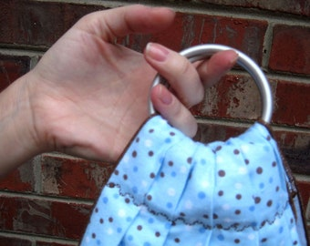 Baby Weighing Sling for Midwives- Blue Dot Flannel - beautiful keepsake or photo prop -SlingRings used on all these
