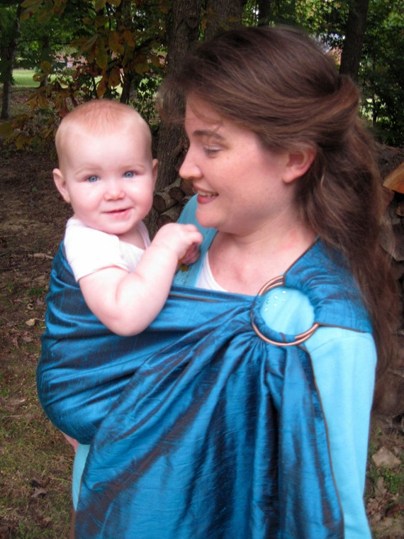 Silk Ring Sling Baby Carrier - Irridescent Teal Dupioni Silk - DVD included - LAST ONE