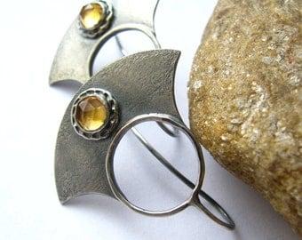 Citrine Earrings, Contemporary Earrings, Metalsmith Jewelry, November Birthstone, Sterling Silver Earrings, Yellow Gemstone Artisan Earring