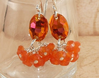 Petite Orange Earrings, Swarovski, Crystal, Carnelian, Astral Pink, Cluster, Stacked, Dangle, Handmade Jewelry, DDurda