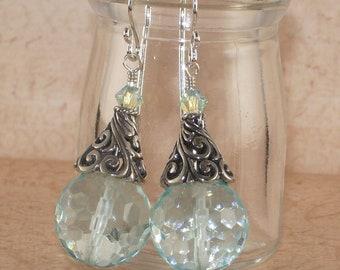 Aqua Quartz Earrings, Sterling Silver, Swarovski, Crystal, Bali, Light Azore, Handmade Jewelry, DDurda