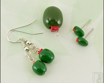 Green Olive Charm, Earrings, or Studs (Made to Order)