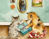 "Christmas cards, Christmas card set, holiday cards, cat christmas cards- christmas, ""Two Pairs of Paws"",  all occasion, card set"
