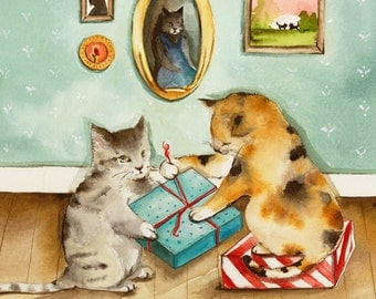 "Christmas cards, Christmas card set, holiday cards, cat christmas cards- christmas, ""Two Pairs of Paws"",  all occasion, card set"