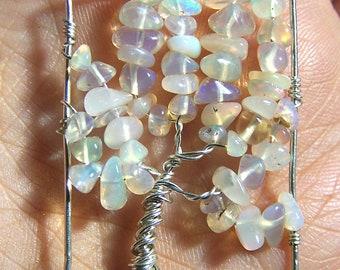 Opal Tree of Life pendant - Tree of Life necklace - Sterling Silver - Genuine opal - Ethiopian Welo opal - fire opal - rectangle - gemstone