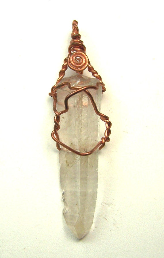 Quartz crystal - raw crystal - clear - Copper wire wrap necklace - pendant on black suede cord - Clear Quartz crystal point - natural