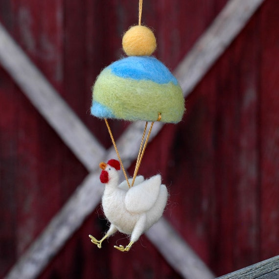 Parachuting Leghorn Chicken - Needle Felted Whimsy