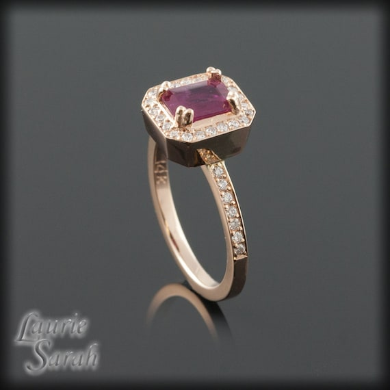 Emerald Cut Ruby Wedding Rings: Rose Gold Engagement Ring Emerald Cut Ruby By