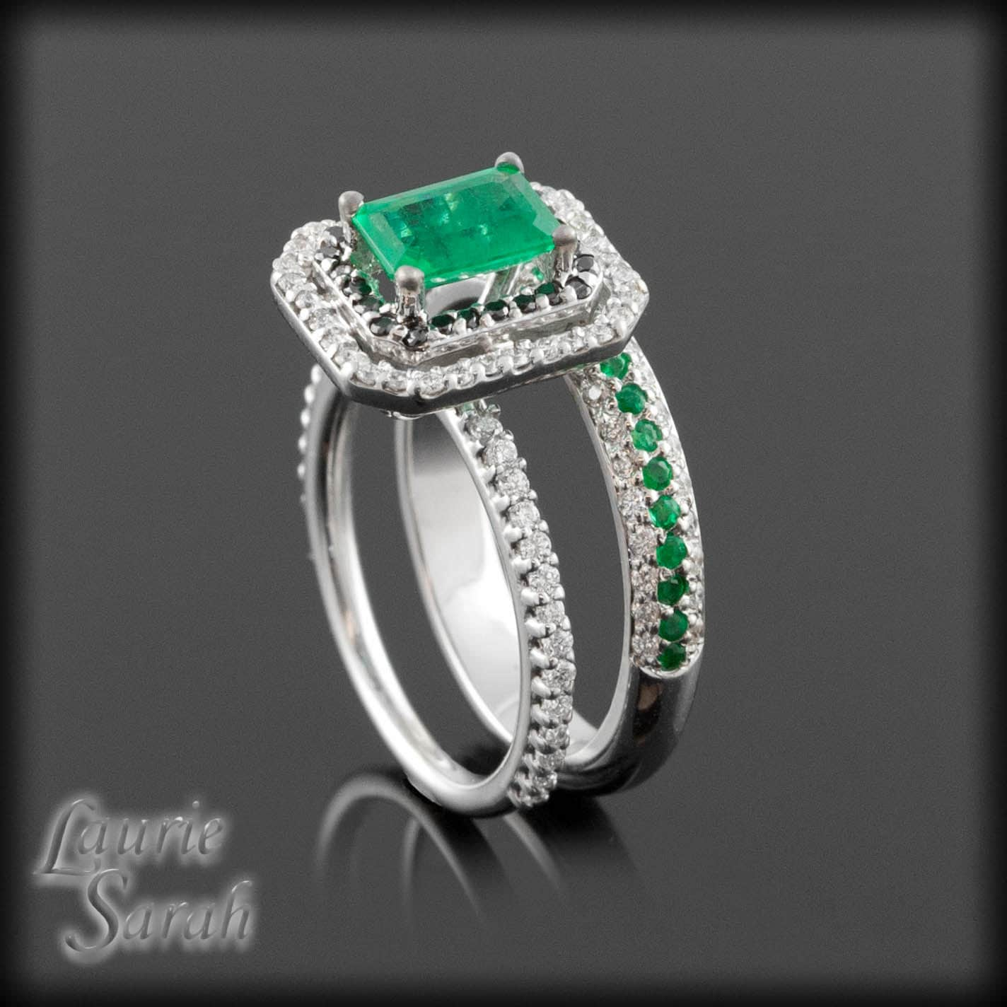 emerald ring kelley green emerald engagement ring set with