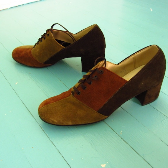 Mod Color Block- suede oxford shoes- Hush Puppies 60s 70s 8