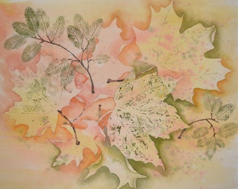 """Autumn Leaves-""""A Sprinkling of Leaves""""-Original Watercolor Painting"""