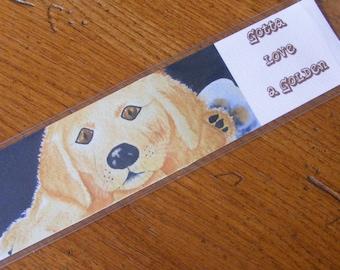 Golden Retriever Puppy Dog Bookmark-Gotta Love a Golden-Art Print-FREE shipping in the USA