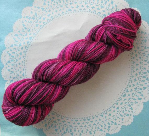 Knitcircus OOAK Pixie Dust Fingering Glitter Sock Yarn Hand-dyed, Merino Silk, Color: Silk Sari