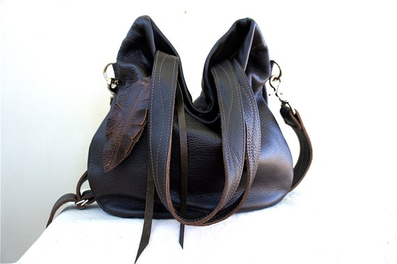 Agatha Fold Over in Dark Chocolate Brown Leather with Clip On Adjustable Strap