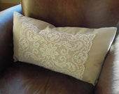 Shabby Chic Vintage Lace Pillow, 13 x 23