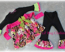 Custom Boutique Girl  Pink And Lime Lace Funky Floral Flower Dress 3m 6m 9m 12m 18m 2T 3T 4T 5T 6 7 8 girl