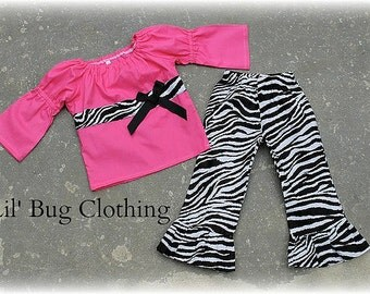 Custom Boutique Clothing Hot Pink Peasant Top Zebra Pant Girls