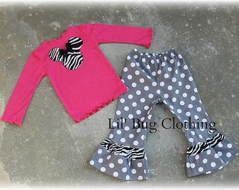 Custom Boutique Minnie Mouse Gray Polka Dot Pant Hot Pink  Zebra Minnie Tee