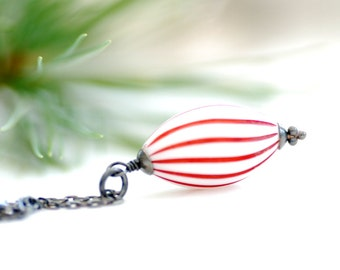 Red and White Necklace, Peppermint Striped, Lucite Jewelry, Sterling Silver, Pendant Necklace, Holiday Necklace - Ye Olde Candy Shoppe