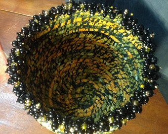 "Fabric Coiled Basket Bowl Black Gold Glass Beaded ""Tiger Eye"""